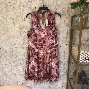 New with tags! Francesca's Floral Velvet Dress